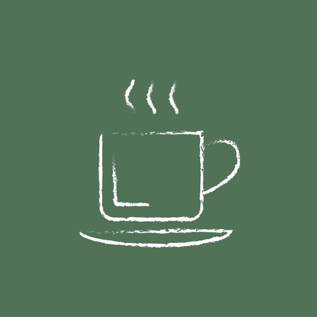 teaparty: Cup of hot drink hand drawn in chalk on a blackboard vector white icon isolated on a green background.