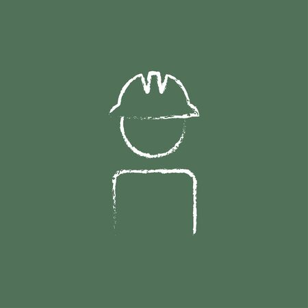 hard hat icon: Worker wearing hard hat hand drawn in chalk on a blackboard vector white icon isolated on a green background.