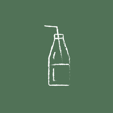 blackboard background: Glass bottle with drinking hand drawn in chalk on a blackboard vector white icon isolated on a green background.