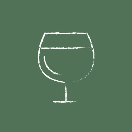 brandy: Glass of wine hand drawn in chalk on a blackboard vector white icon isolated on a green background.