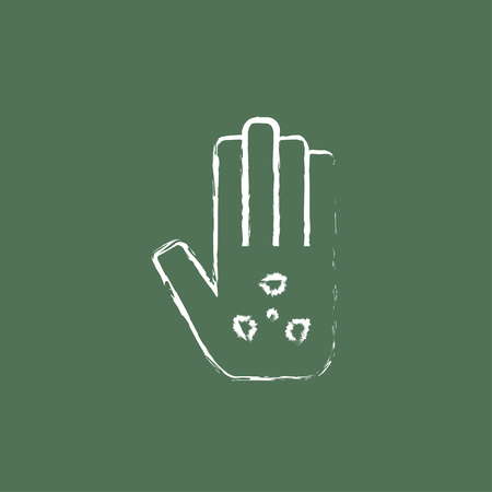 ionizing: Ionizing radiation sign on a palm hand drawn in chalk on a blackboard vector white icon isolated on a green background.