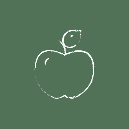 ripened: Apple hand drawn in chalk on a blackboard vector white icon isolated on a green background.