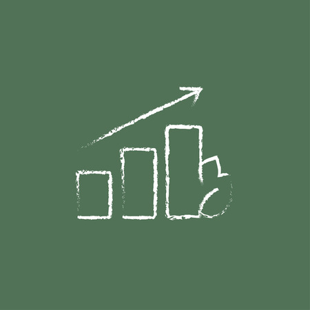 Bar graph with leaf hand drawn in chalk on a blackboard vector white icon isolated on a green background.