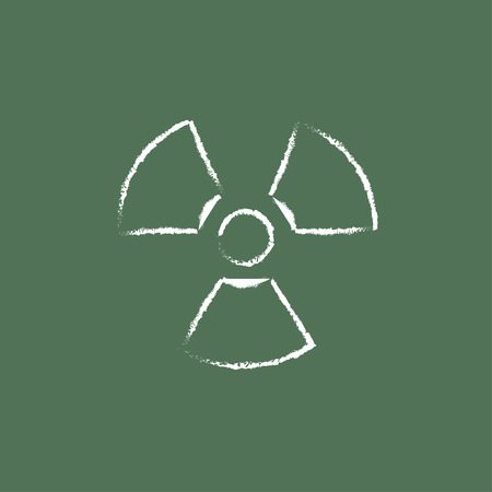 Ionizing radiation sign hand drawn in chalk on a blackboard vector white icon isolated on a green background. Ilustração