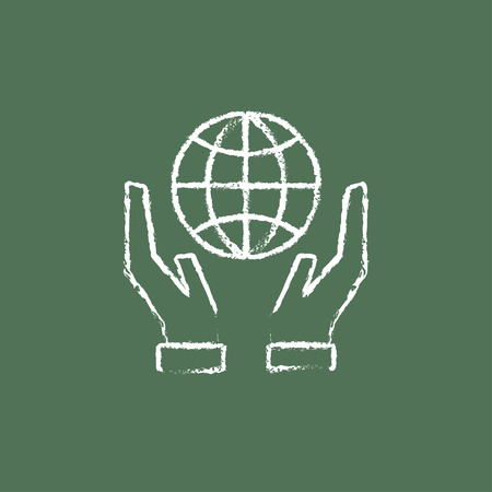 Two hands holding globe hand drawn in chalk on a blackboard vector white icon isolated on a green background.