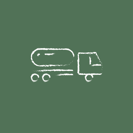 hand truck: Fuel truck hand drawn in chalk on a blackboard vector white icon isolated on a green background.