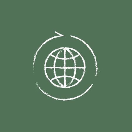 Globe with arrows hand drawn in chalk on a blackboard vector white icon isolated on a green background.