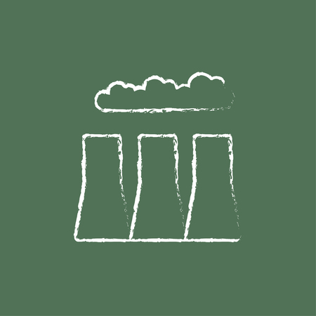 distill: Factory pipes hand drawn in chalk on a blackboard vector white icon isolated on a green background. Illustration
