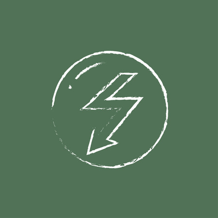 lightning arrow: Lightning arrow downward hand drawn in chalk on a blackboard vector white icon isolated on a green background. Illustration