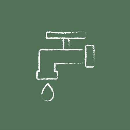 economize: Faucet with water drop hand drawn in chalk on a blackboard vector white icon isolated on a green background.