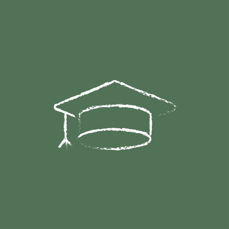 university graduation: Graduation cap hand drawn in chalk on a blackboard vector white icon isolated on a green background. Illustration
