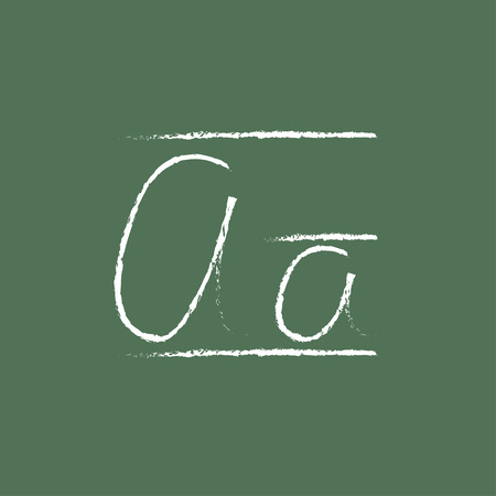 cursive: Cursive letter a hand drawn in chalk on a blackboard vector white icon isolated on a green background.