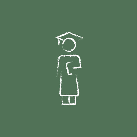 hold high: Graduation hand drawn in chalk on a blackboard vector white icon isolated on a green background.