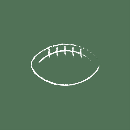 Rugby football ball hand drawn in chalk on a blackboard vector white icon isolated on a green background.
