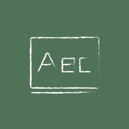lexicon: Letters abc on the blackboard hand drawn in chalk on a blackboard vector white icon isolated on a green background.