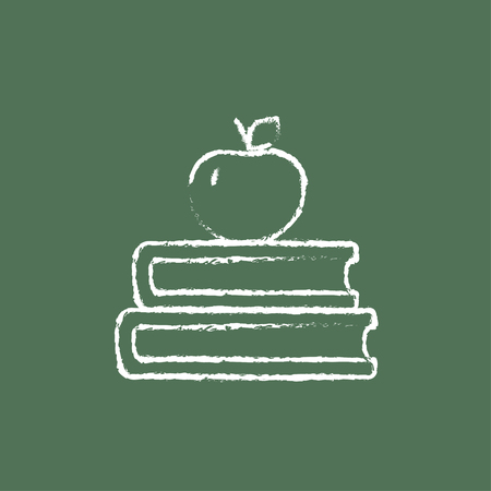 schoolbook: Books and apple on the top hand drawn in chalk on a blackboard vector white icon isolated on a green background. Illustration