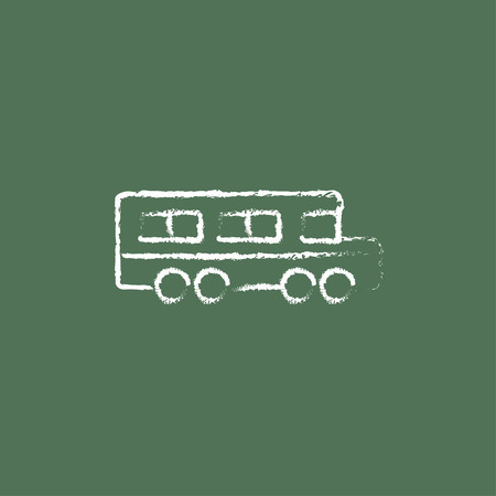 schoolbus: School bus hand drawn in chalk on a blackboard vector white icon isolated on a green background.