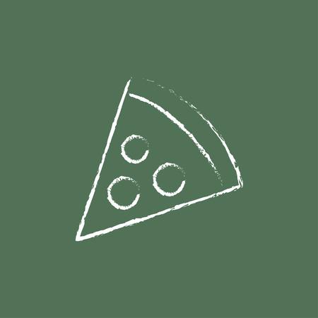 Pizza slice hand getekend met krijt op een schoolbord vector wit pictogram geïsoleerd op een groene achtergrond. Stock Illustratie