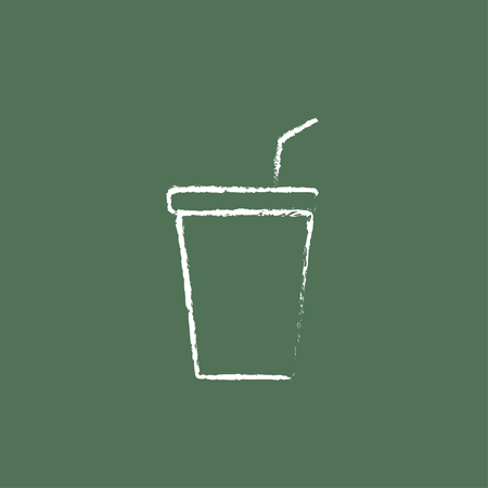 polystyrene: Disposable cup with lid and drinking straw hand drawn in chalk on a blackboard vector white icon isolated on a green background.