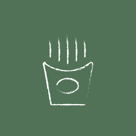 French fries hand drawn in chalk on a blackboard vector white icon isolated on a green background.