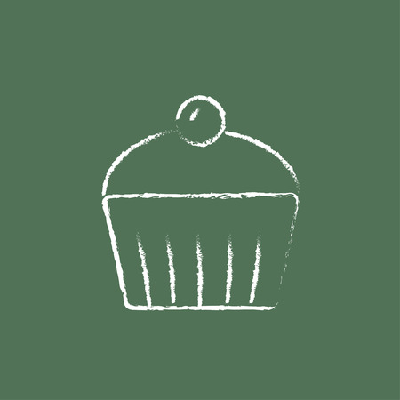 brownie: Cupcake with cherry hand drawn in chalk on a blackboard vector white icon isolated on a green background.
