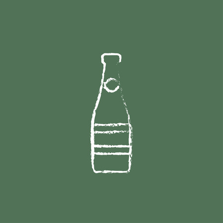 Glass bottle hand drawn in chalk on a blackboard vector white icon isolated on a green background.