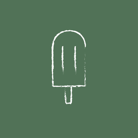 Popsicle hand drawn in chalk on a blackboard vector white icon isolated on a green background.