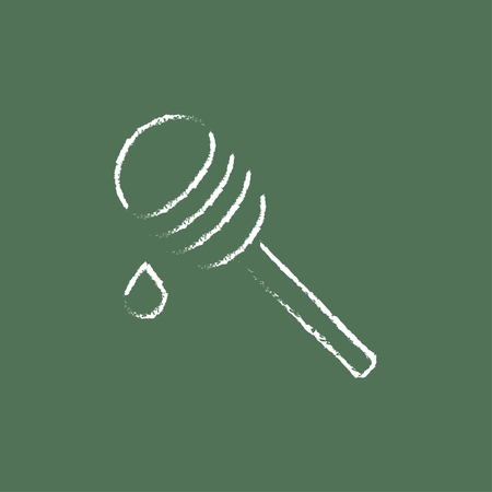 Honey dipper hand drawn in chalk on a blackboard vector white icon isolated on a green background. Illustration