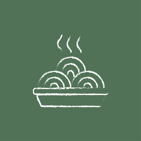 Hot meal in plate hand drawn in chalk on a blackboard vector white icon isolated on a green background. Ilustrace