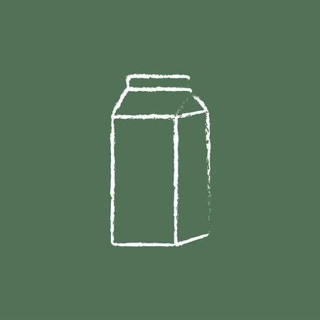 Packaged dairy product hand drawn in chalk on a blackboard vector white icon isolated on a green background.