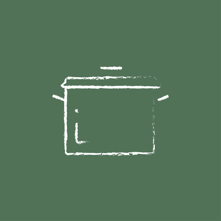 stainless steel pot: Saucepan hand drawn in chalk on a blackboard vector white icon isolated on a green background.