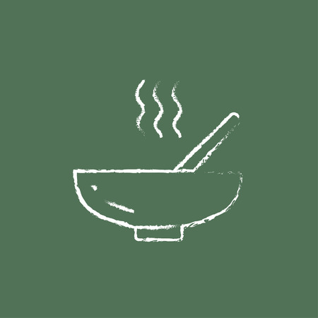 broth: Bowl of hot soup with spoon hand drawn in chalk on a blackboard vector white icon isolated on a green background.