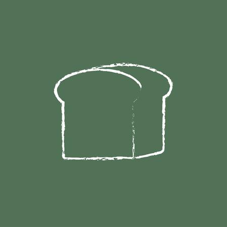 緑の背景に分離された黒板白ベクトル アイコンにチョークで描かれたパン手の半分。