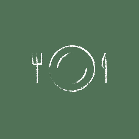 plate of food: Plate with cutlery hand drawn in chalk on a blackboard vector white icon isolated on a green background.