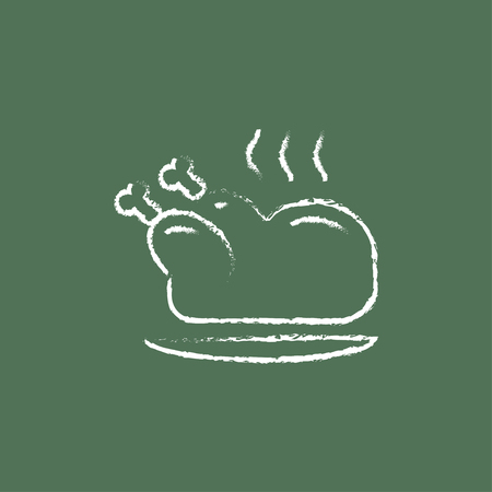 Baked whole chicken hand drawn in chalk on a blackboard vector white icon isolated on a green background.