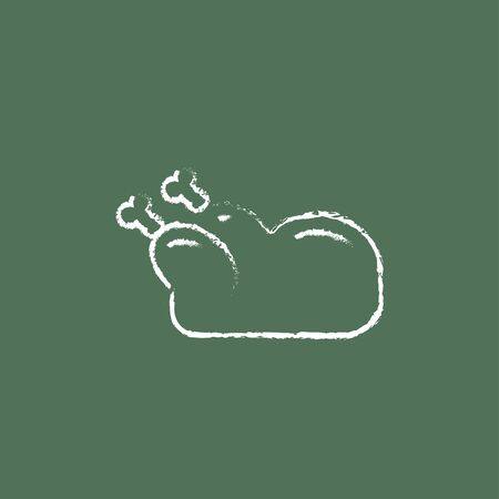 raw chicken: Raw chicken hand drawn in chalk on a blackboard vector white icon isolated on a green background. Illustration
