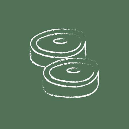 緑の背景に分離された黒板白ベクトル アイコンにチョークで描かれたステーキ手。 写真素材 - 45681767