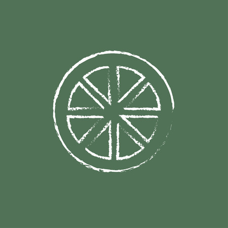 Slice of lemon hand drawn in chalk on a blackboard vector white icon isolated on a green background. Vettoriali