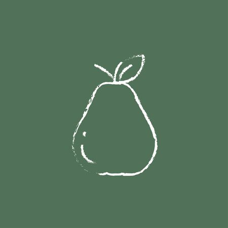 ripened: Pear hand drawn in chalk on a blackboard vector white icon isolated on a green background.