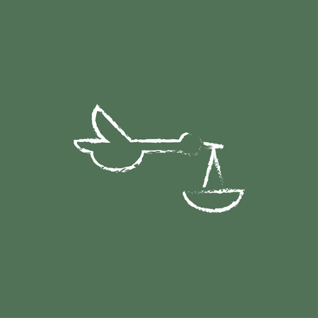 Baby basket with stork hand drawn in chalk on a blackboard vector white icon isolated on a green background. Illustration