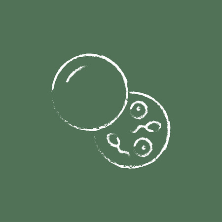 spermatozoa: Donor sperm hand drawn in chalk on a blackboard vector white icon isolated on a green background.