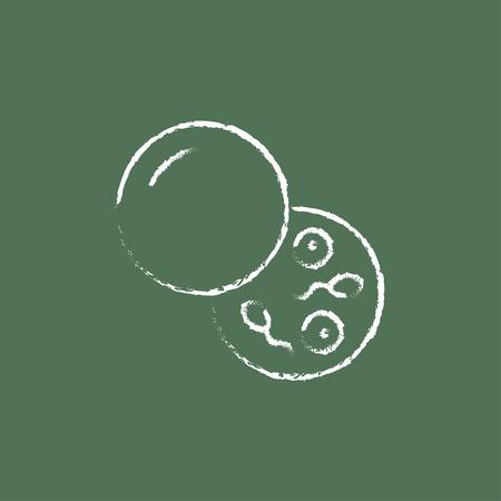 Donorsperma de hand getekend met krijt op een schoolbord vector wit pictogram geïsoleerd op een groene achtergrond.