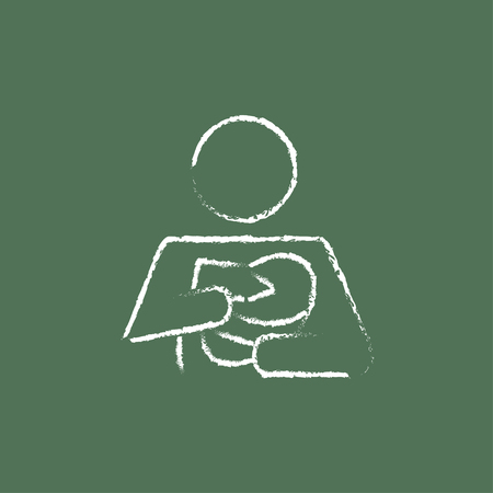 nursing bottle: Woman nursing the baby hand drawn in chalk on a blackboard vector white icon isolated on a green background.