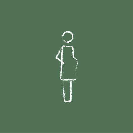 embryo growth: Pregnant woman hand drawn in chalk on a blackboard vector white icon isolated on a green background.