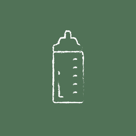 nursing bottle: Feeding bottle hand drawn in chalk on a blackboard vector white icon isolated on a green background.
