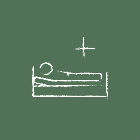 sickbed: Patient lying on the bed hand drawn in chalk on a blackboard vector white icon isolated on a green background. Illustration