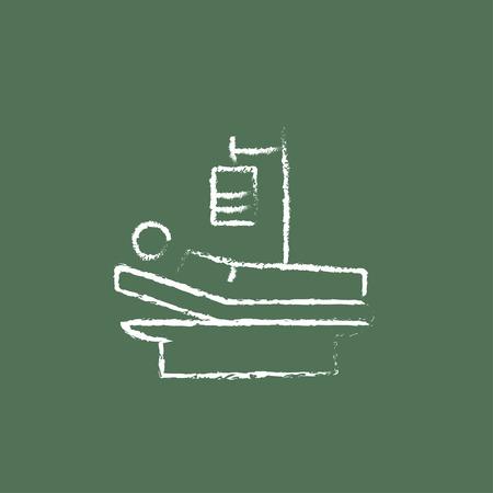 patient in bed: Paciente mentir en la cama la mano dibuja con tiza en un icono blanco vector de pizarra aislado en un fondo verde.
