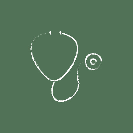 Stethoscope hand drawn in chalk on a blackboard vector white icon isolated on a green background.