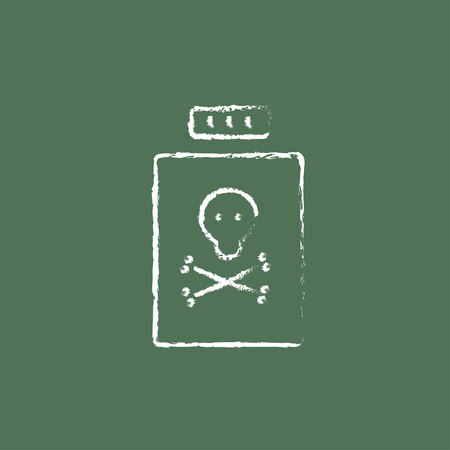 poison bottle: Bottle of poison hand drawn in chalk on a blackboard vector white icon isolated on a green background.