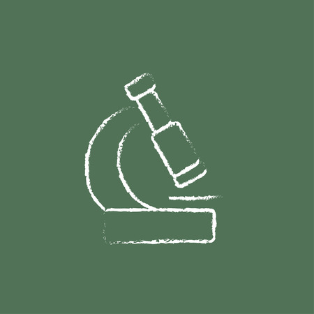 electronic survey: Microscope hand drawn in chalk on a blackboard vector white icon isolated on a green background.